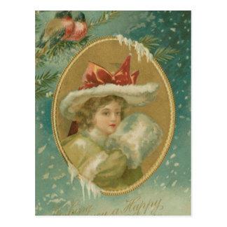 Vintage viktorianische Weihnachtsdame Postkarte