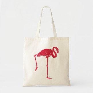 Vintage Vögel, ein rosa Flamingo Tragetasche
