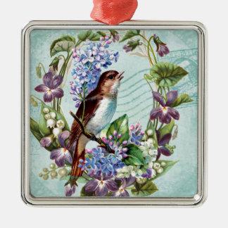 Vintage Vögel und Blumen auf Blau Quadratisches Silberfarbenes Ornament