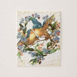 Vintage Vögel und Blumen auf Creme Puzzle