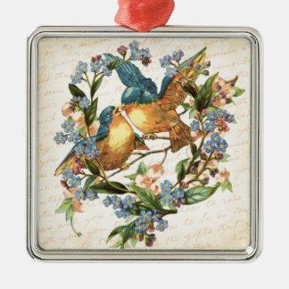 Vintage Vögel und Blumen auf Creme Quadratisches Silberfarbenes Ornament