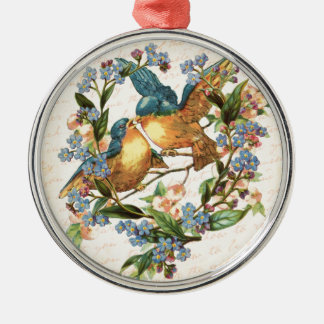 Vintage Vögel und Blumen auf Creme Rundes Silberfarbenes Ornament