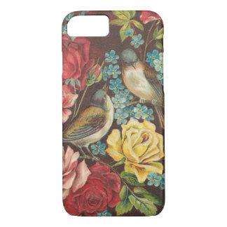 Vintage Vögel und Blumen iPhone 7 Hülle