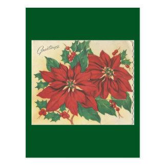 """Vintage Weihnachts""""Gruß-"""" Poinsettias Postkarte"""