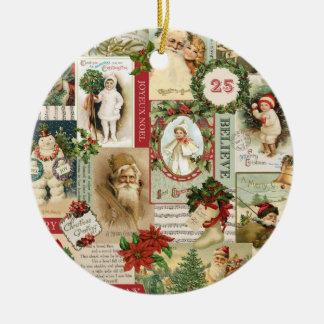 VINTAGE WEIHNACHTScollage Rundes Keramik Ornament