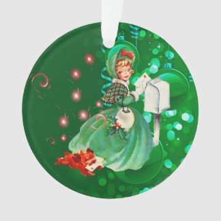 Vintage Weihnachtsdame Mailing Letter Green Ornament