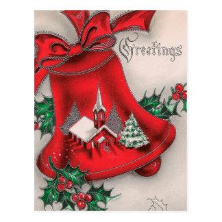 Vintage Weihnachtsglocke Postkarte