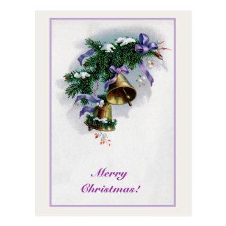 Vintage Weihnachtsglocken und -dekoration Postkarte