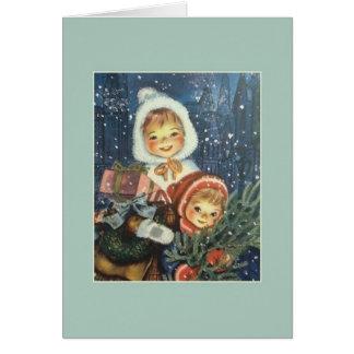 Vintage Weihnachtsgruß-Karte Grußkarte