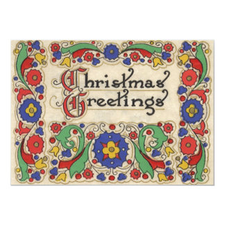 Vintage Weihnachtsgrüße mit dekorativer Grenze 12,7 X 17,8 Cm Einladungskarte