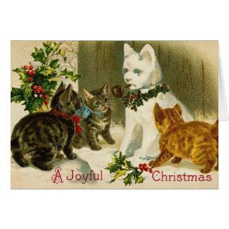 Vintage Weihnachtskitty-Katzen Grußkarte