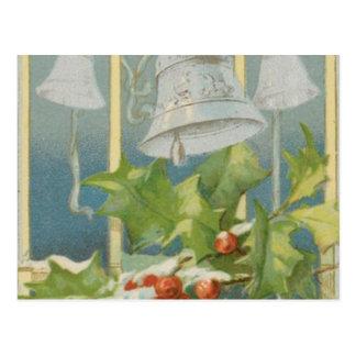 Vintage Weihnachtsstechpalme und -bell Postkarte