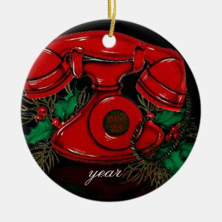 Vintage Weihnachtstelefon-Verzierung Keramik Ornament