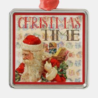 Vintage Weihnachtszeit Weihnachtsmann Silbernes Ornament