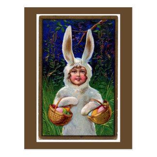 Vintage weiße Häschen-Anzugs-Ostern-Postkarte Postkarten