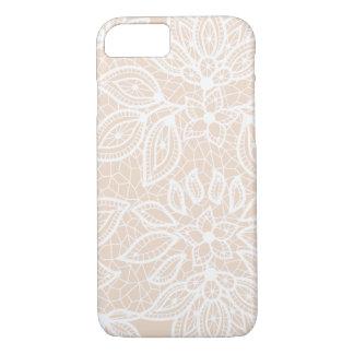 Vintage weiße Spitze auf weichem neutralem iPhone 8/7 Hülle