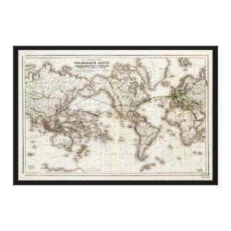 Vintage Weltkarte, die Fernschreibleitungen (1871, Leinwanddruck