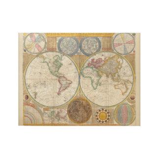 Vintage Weltkarte und Astronomie-Diagramm Holzposter