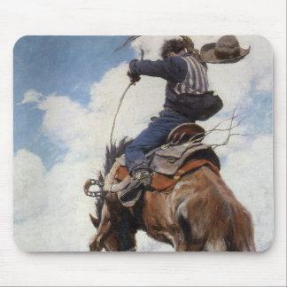 Vintage Western-Cowboys, sträubend durch NC Wyeth Mousepad