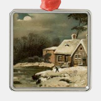 Vintage Winter-Szene Quadratisches Silberfarbenes Ornament