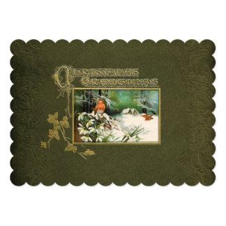 Vintage Winter-Szene und Weihnachtsgruß 12,7 X 17,8 Cm Einladungskarte
