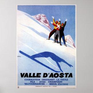 Vintage Wintersport italienische Alpenreise Poster
