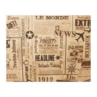 Vintage Zeitungs-hölzerne Wand-Kunst Holzleinwand