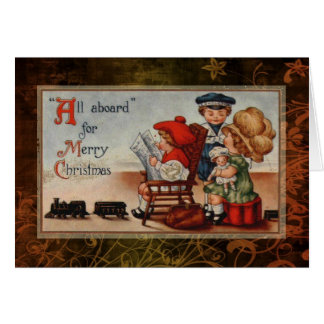 Vintage Zug-Weihnachtskarte Karte