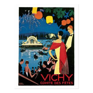 Vintage Zwanzigerjahre Vichy Franzose-Reiseanzeige Postkarte