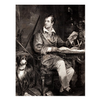 Vintager 1800s Lord Byron Portrait Victorian Poet Postkarte