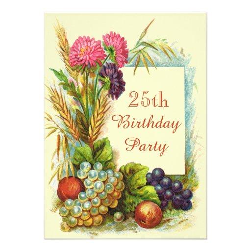 Vintager 25. Geburtstags-bunte Früchte u. Blumen Individuelle Ankündigungen