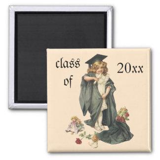 Vintager Abschluss, Glückwunsch-Absolvent! Quadratischer Magnet