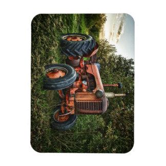 Vintager alter roter Traktor Recchteckiger Magnet