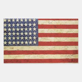 Vintager amerikanische Flaggen-Aufkleber Rechteckiger Aufkleber
