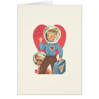 Vintager Astronautund WelpeValentine Grußkarte