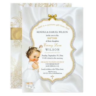 Vintager Baby-Mädchen-Taufe-Goldkreuz-Glitter 12,7 X 17,8 Cm Einladungskarte
