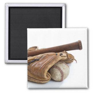 Vintager Baseball und Schläger Quadratischer Magnet
