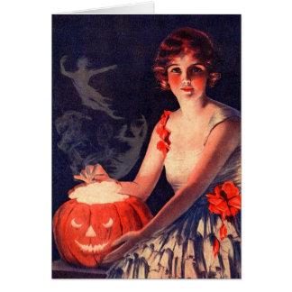 Vintager beschwörender Geist Halloween Grußkarte