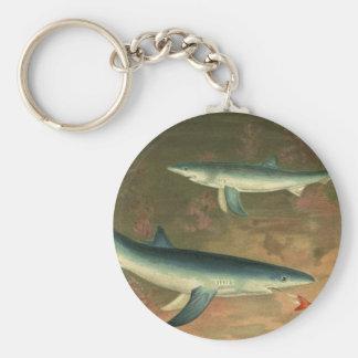 Vintager blauer Haifisch, der Fische, Marineleben Schlüsselanhänger