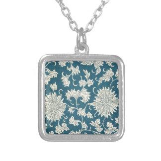 Vintager blauer u. weißer Blumendruck Versilberte Kette