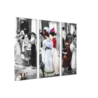 Vintager Blick-Damen-Einkauf Leinwanddruck