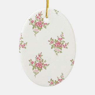 Vintager Blumen-Power Ovales Keramik Ornament