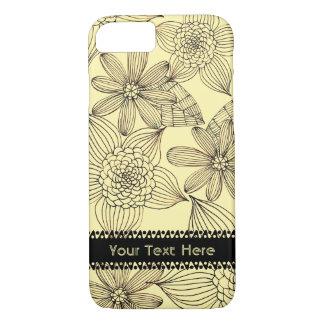 Vintager Blumenentwurf mit kundenspezifischem Text iPhone 8/7 Hülle