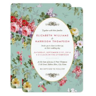 Vintager Blumengarten-botanische Hochzeit 12,7 X 17,8 Cm Einladungskarte