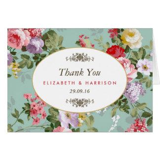 Vintager Blumengarten-botanische Hochzeit danken Karte