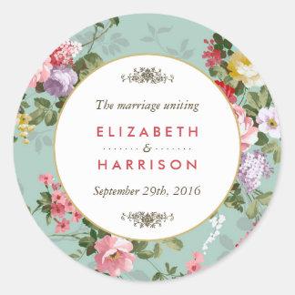 Vintager Blumengarten-botanische Hochzeit Runder Aufkleber