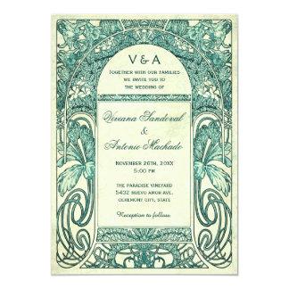 Vintager Blumenhochzeits-Einladungs-Türkis 12,7 X 17,8 Cm Einladungskarte