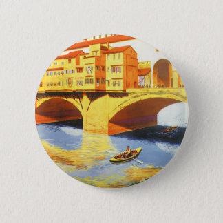 Vintager Brücken-Fluss Reise-Florenz Firenze Runder Button 5,7 Cm