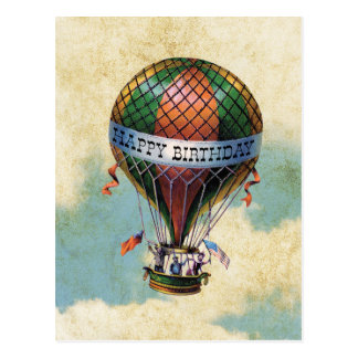 Vintager bunter Heißluft-Ballon-alles Gute zum Postkarte