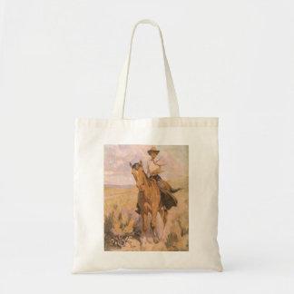 Vintager Cowgirl-Cowboy, Frau auf Pferd durch Tragetasche